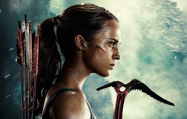 Картинка девушка, фон, Tomb Raider, Лара Крофт, стрелы, постер, Алисия Викандер, Alicia Vikander