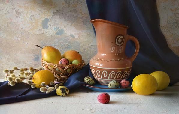 Картинка стол, праздник, яйцо, Пасха, кувшин, корзинка, груши, верба, лимоны, Натюрморт, драпировка