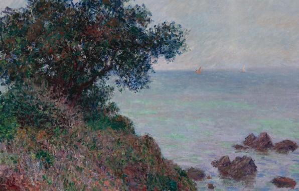 Фото обои море, пейзаж, камни, дерево, скалы, Claude Monet, Клод Моне, Средиземноморское Побережье. Пасмурная Погода