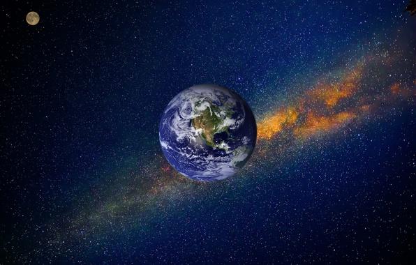 Картинка космос, туманность, вселенная, планеты, фотошоп, звёзды, Луна, Земля