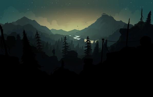 Картинка Горы, Ночь, Звезды, Игра, Река, Человек, Лес, Силуэт, Холмы, Пейзаж, Арт, Вышка, Campo Santo, Firewatch, ...
