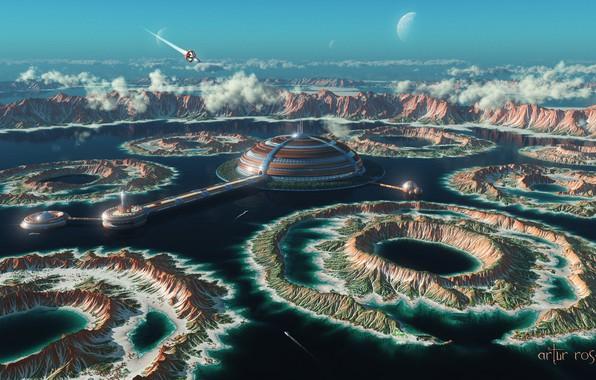 Картинка небо, облака, горы, фантастика, скалы, корабль, порт, spaceship, космопорт, Artur Rosa