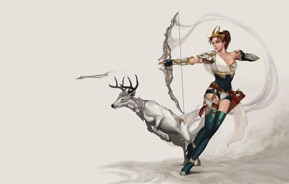 Картинка девушка, игра, олень, лучница, арт, охота, охотница, персонаж, Archer, фЭнтези, Artemis Concept