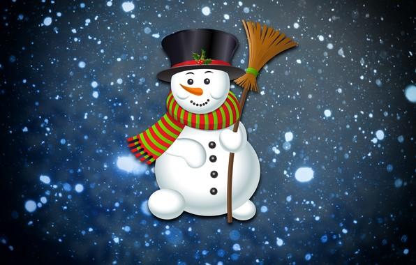 Картинка Зима, Минимализм, Снег, Снежинки, Фон, Новый год, Праздник, Снеговик