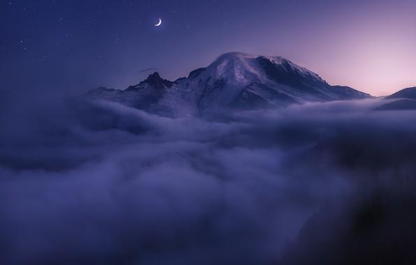 Картинка облака, ночь, туман, луна, вершина, США