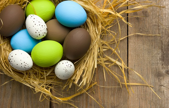 Картинка весна, colorful, Пасха, wood, spring, Easter, eggs, decoration, Happy, яйца крашеные