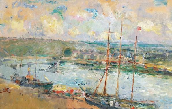 Картинка пейзаж, корабль, картина, порт, Альбер-Шарль Лебур, Albert Lebourg, Руан и Сен-Север