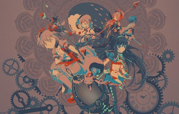 Картинка цветок, синий, красный, оружие, серый, девушки, черный, волосы, часы, механизм, яйцо, аниме, girls, anime, brokenTONE