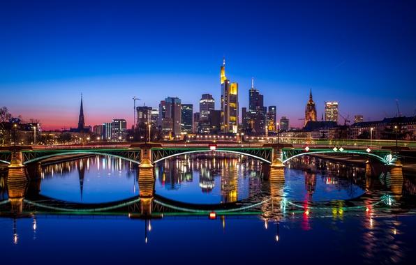 Картинка ночь, мост, отражение, река, Германия, Frankfurt, Франкфурт-на-Майне, Франкфурт