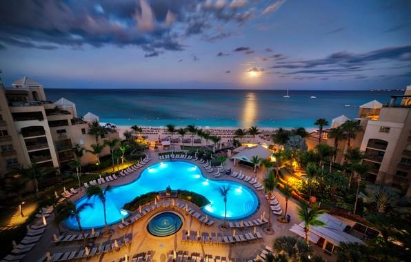 Картинка море, пляж, небо, пейзаж, закат, огни, тропики, пальмы, берег, яхты, вечер, бассейн, горизонт, Карибы, отели, ...