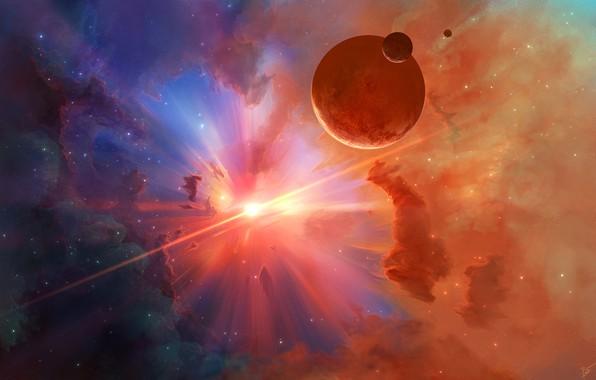 Картинка космос, лучи, свет, туманность, планеты, звёзды, арт, Josef Barton, Digital Universe, Stars Spectrum