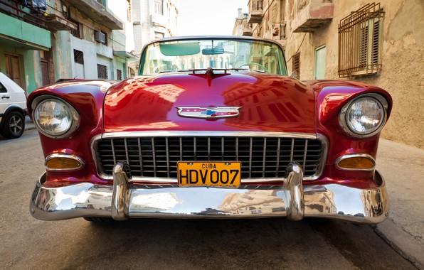 Картинка улица, Chevrolet, парковка, автомобиль, хром, боке, крупным планом, цвет красный, wallpaper., feel of speed, Chevrolet ...