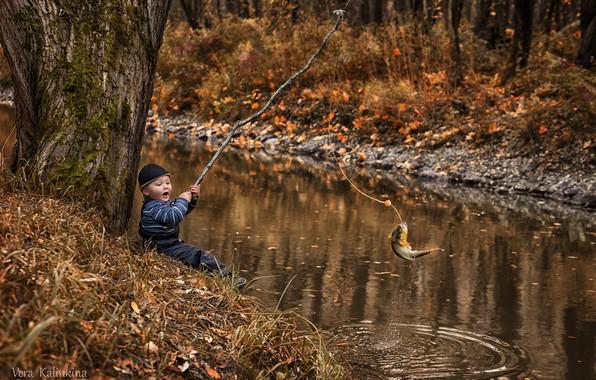 Картинка река, рыба, мальчик, улов