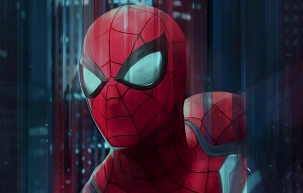 Картинка красный, рисунок, арт, костюм, супергерой, Человек-паук, Spider-Man, Peter Parker