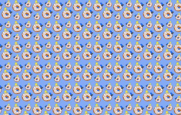 Картинка белый, синий, желтый, еда, Симпсоны, большой, Гомер, пончик, коричневый, кусает, ест, Гомер Симпсон