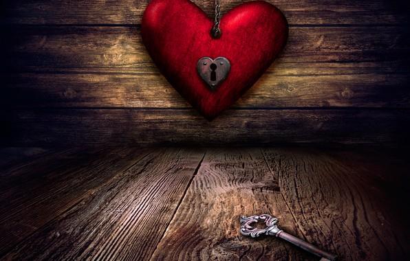 Картинка красное, сердце, доски, ключ, цепь, полумрак, день святого Валентина, замочная скважина