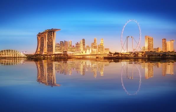 Картинка море, пейзаж, lights, огни, небоскребы, Сингапур, архитектура, мегаполис, blue, night, fountains
