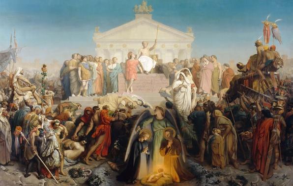 Картинка картина, мифология, аллегория, Жан-Леон Жером, Век Августа. Рождение Христа
