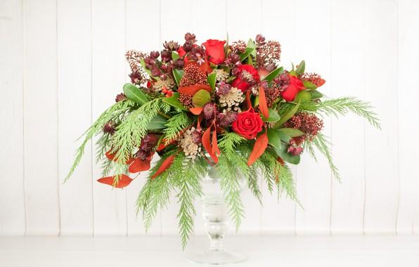 Картинка стекло, цветы, букет, ваза, компОзиция