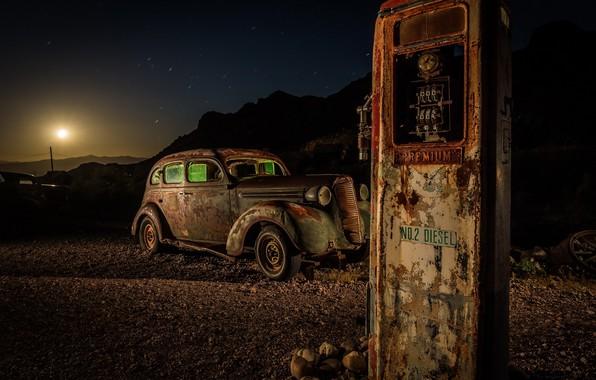 Картинка машина, ночь, заправка