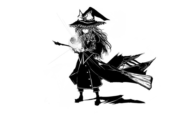 Картинка заклинание, метла, art, witch, лохматая, Touhou Project, Marisa Kirisame, черная магия, Acryl, ведьма в шляпе