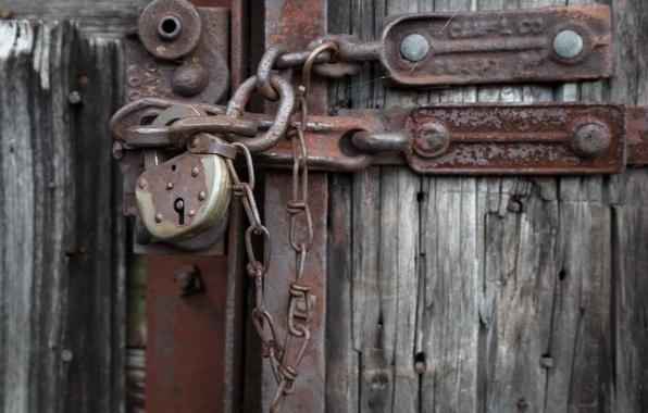 Картинка фон, замок, дверь, цепь
