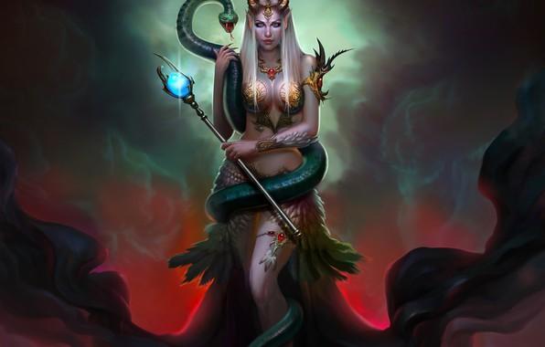 Картинка змея, королева, фэнетзи, апрт, Nagin, HARISH MOGER