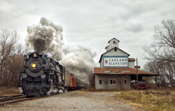 Картинка smoke, steam, truck, train, railway, railroad, Pere Marquette 1225, Carland Elevator