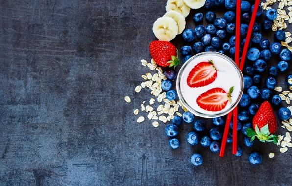 Картинка ягоды, еда, завтрак, черника, клубника, йогурт, овсянка