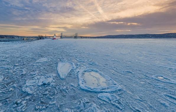 Картинка зима, мост, река, лёд, New York, Hudson River, Штат Нью-Йорк, Sleepy Hollow, Река Гудзон, Tappan ...