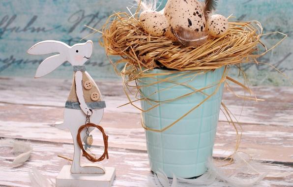 Картинка праздник, яйца, кролик, пасха, декор, Easter, eggs