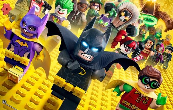 Фото обои cinema, Wonder Woman, Batman, movie, bat, Lego, Robin, hero, film, Two-Face, animated film, DC Comics, ...