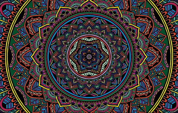 Картинка colorful, texture, color, selective coloring, Mandala