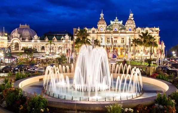 Картинка ночь, огни, фонтан, дворец, Монако, Монте-Карло, Casino