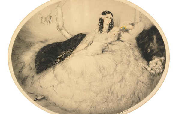 Картинка 1931, Louis Icart, Черный веер