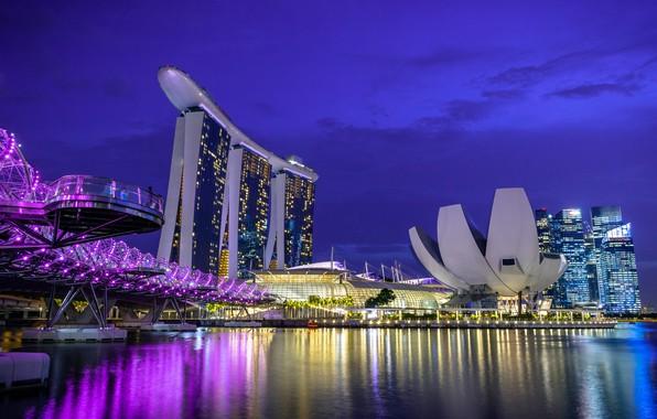 Картинка ночь, огни, Сингапур, отель