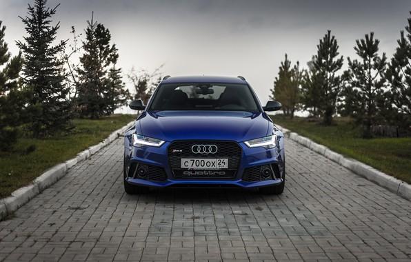 Картинка Audi, Russia, Blue, Front, Avant, RS6, VAG
