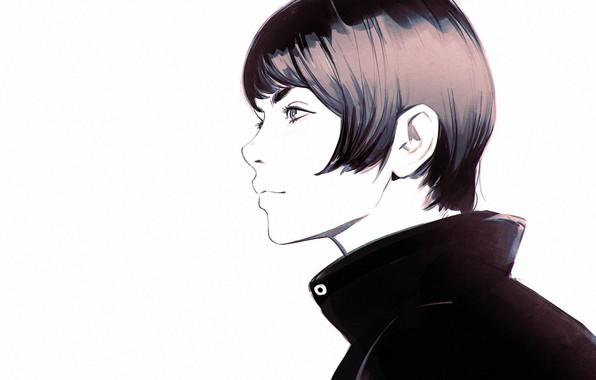 Картинка стрижка, воротник, белый фон, профиль, ухо, шея, челка, портрет девушки, Илья Кувшинов