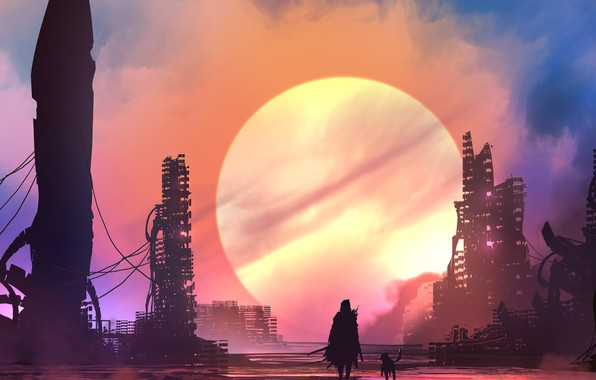 Картинка city, future, sword, fantasy, weapon, Sun, sunset, science fiction, dog, man, sci-fi, ruins, digital art, …