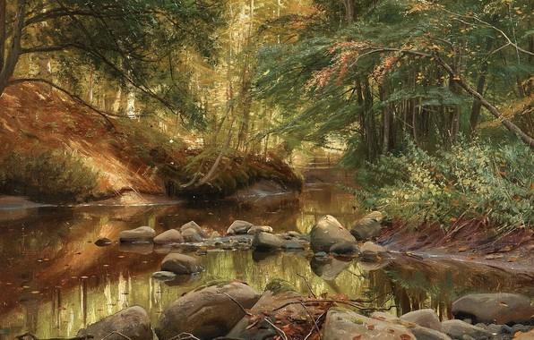 Картинка 1896, датский живописец, Петер Мёрк Мёнстед, Peder Mørk Mønsted, Danish realist painter, Весенний пейзаж, Spring …