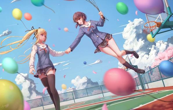 Картинка небо, облака, девушки, шары, аниме, сакура, форма, школьницы, площадка, katou megumi, saenai heroine no sodatekata, …