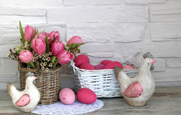 Фото обои цветы, Пасха, happy, flowers, tulips, spring, Easter, eggs, decoration, розовые тюльпаны, яйца крашеные