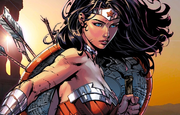 Картинка Взгляд, Волосы, Герой, Комикс, Брюнетка, Wonder Woman, Супергерой, Hero, Brunette, Щит, Beauty, Стрелы, Красивая, Arrow, …