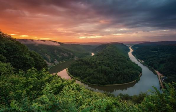 Картинка деревья, Весна, Германия, Лето, Сааршляйфе, речной изгиб, река Саар