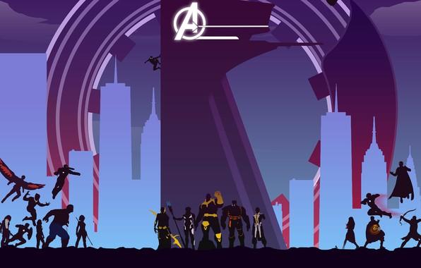 Картинка фантастика, арт, силуэты, постер, комикс, супергерои, MARVEL, Avengers: Infinity War, Мстители: Война бесконечности