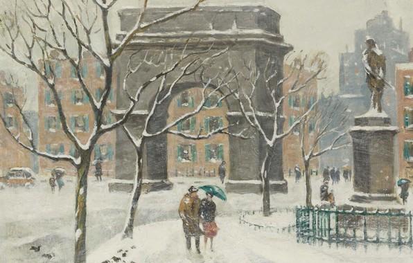 Картинка картина, арка, городской пейзаж, Guy Carleton Wiggins, Гай Уиггинс, Сочельник. Площадь Вашингтона