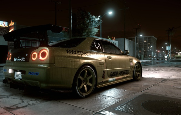 Картинка улица, Nissan skyline, ночь город, Need for Speed 2015, GTR R34, top secret copy