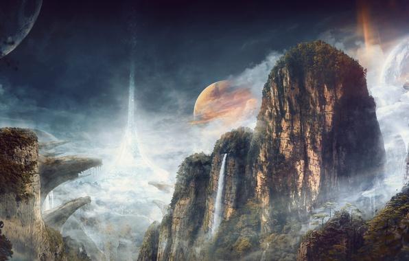 Фото обои облака, скалы, небо, лес, ущелье, планета, деревья, водопад, горы, the ring of worlds, поза