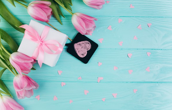 Картинка цветы, подарок, Весна, Тюльпаны, сердечки, Фон, flowers, Spring, Background, Tulips