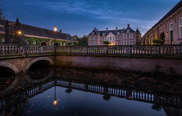Картинка огни, замок, вечер, Нидерланды, Голландия, Castle Ampsen